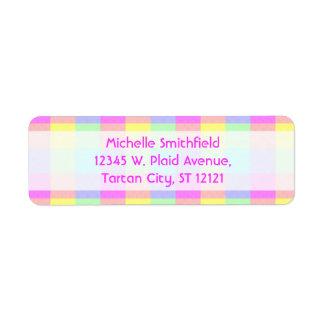 Étiquette Frontière Checkered d'arc-en-ciel en pastel
