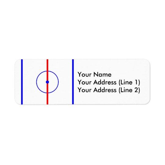 Étiquette Glace de centre d'hockey et lignes bleues