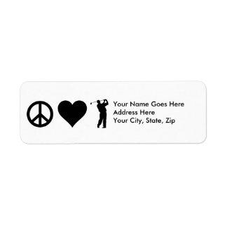 Étiquette Golf d'amour de paix