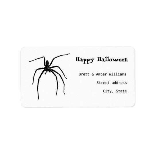 Étiquette Grande araignée effrayante de Halloween