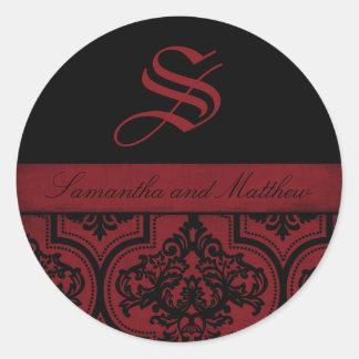 Étiquette grunge de monogramme de damassé de Goth