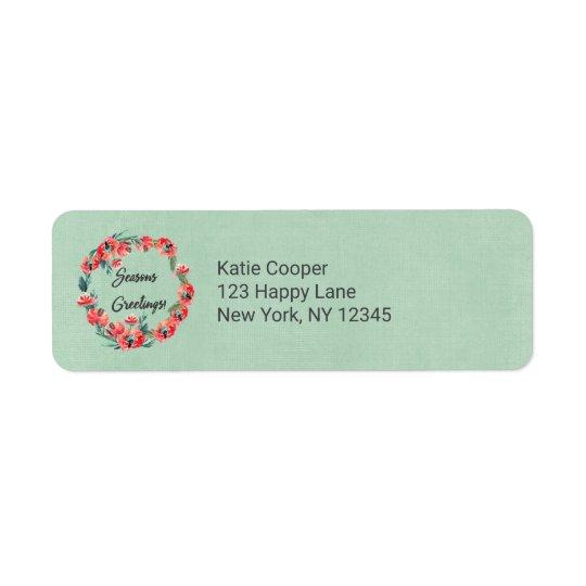 Étiquette Guirlande florale rouge d'aquarelle de Joyeuses