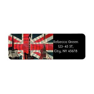 Étiquette Guitare électrique d'Union Jack de drapeau de