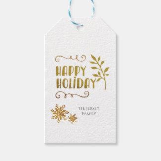 Étiquette heureuse de cadeau de Noël de vacances