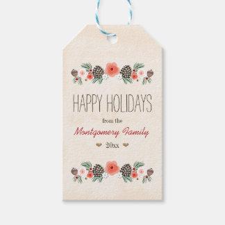 Étiquette heureuse florale vintage de cadeau de