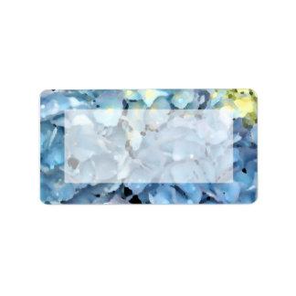 Étiquette Hortensia bleu floral