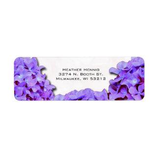 Étiquette Hortensia pourpre épousant l'adresse de retour