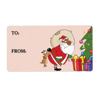 Étiquette imprimé par Père Noël noir de mauvaises