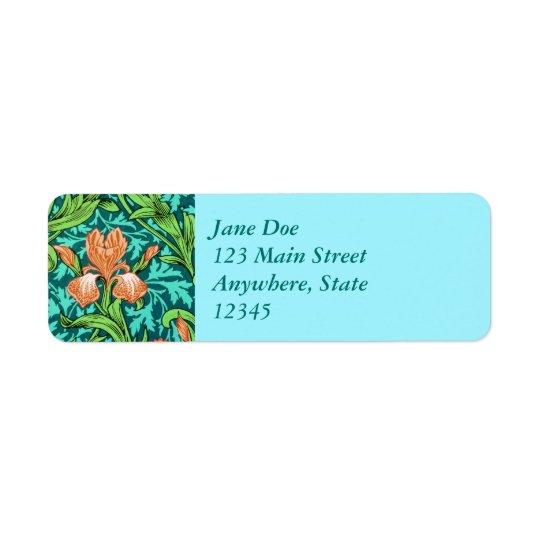 Étiquette Iris, orange et turquoise de William Morris