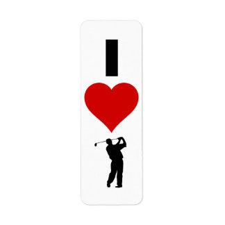 Étiquette J'aime le golf (vertical)