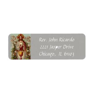Étiquette Jésus avec l'eucharistie et le calice
