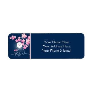 Étiquette Joli bleu de Sakura de rose de lune de fleurs de