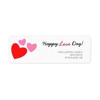 Étiquette Jour heureux d'amour de coeurs roses et rouges
