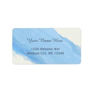 Étiquette La brosse d'aquarelle de bleu de ciel d'océan