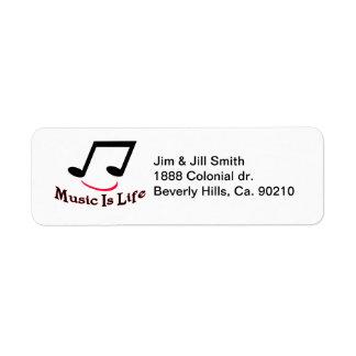 Étiquette La musique est smiley de note musicale de la vie