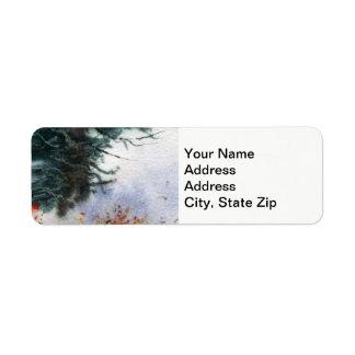 Étiquette La neige d'hiver a couvert les arbres de pin