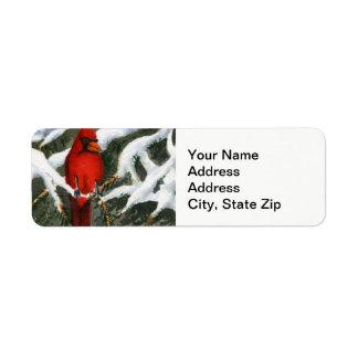 Étiquette La neige d'hiver a couvert l'oiseau rouge cardinal