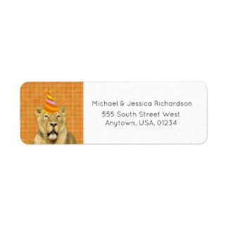 Étiquette La partie aiment un lion animal avec