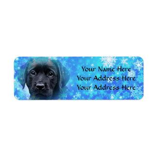 Étiquette Labrador noir - flocons de neige