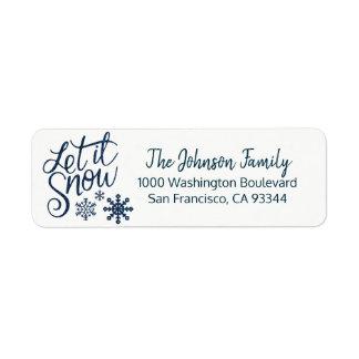 Étiquette LAISSEZ LUI NEIGER adresse de retour BLEUE de Noël