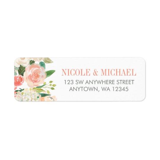 Étiquette L'aquarelle en pastel fleurit l'adresse de retour