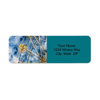 Étiquette L'aquarelle Ferris roulent dedans Santa Cruz la