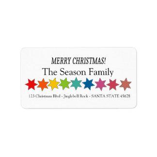 Étiquette L'arc-en-ciel de Joyeux Noël tient le premier rôle