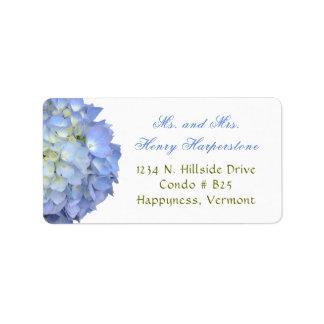 Étiquette large d'hortensia floral bleu élégant
