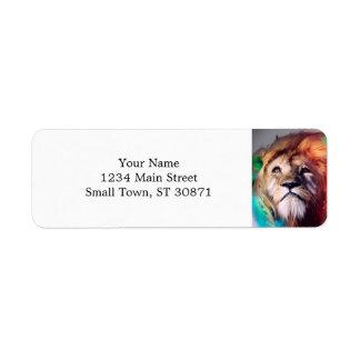 Étiquette Le lion coloré recherchant fait varier le pas de