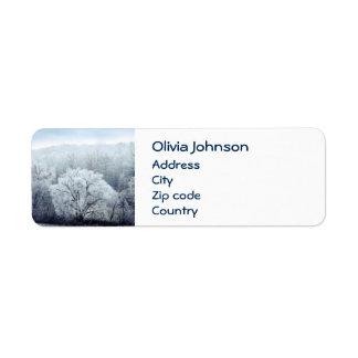 Étiquette Le paysage brumeux d'hiver avec la neige a couvert