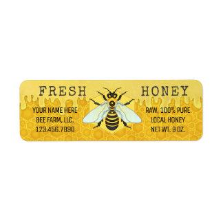 Étiquette Le pot de miel marque des abeilles de rucher de