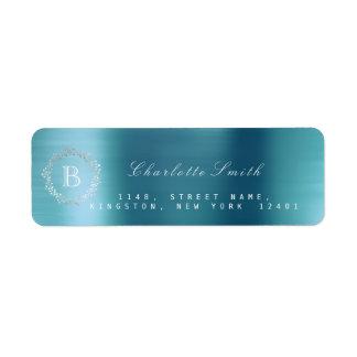 Étiquette L'eau RSVP bleu d'argent de guirlande de laurier