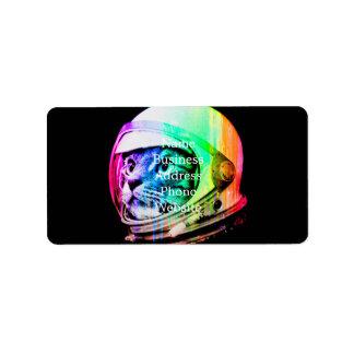 Étiquette les chats colorés - astronaute de chat - espacent