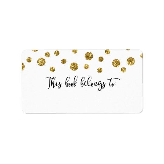 Étiquette Les confettis de scintillement d'or ce livre