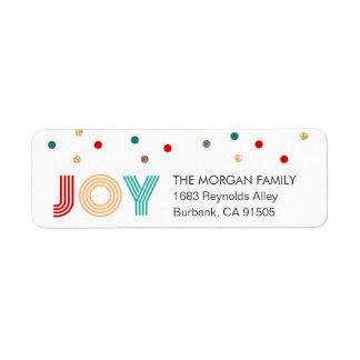 Étiquette Les confettis modernes de JOIE colorée pointillent