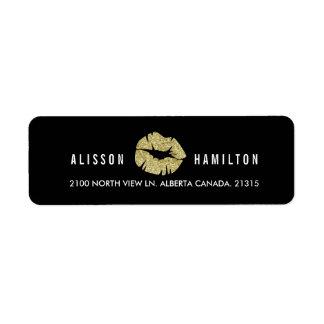 Étiquette Lèvres d'or sur l'adresse de retour personnalisée