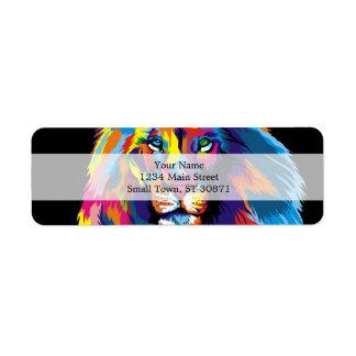 Étiquette Lion coloré