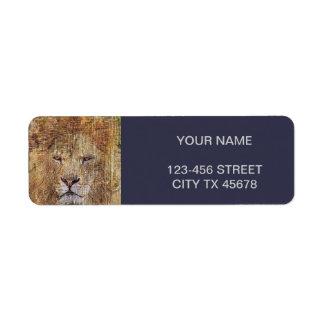 Étiquette Lion majestueux de faune animale de safari de