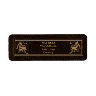 Étiquette Lion simili cuir