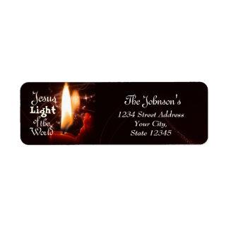 Étiquette Lumière de Jésus du monde, bougie de Noël