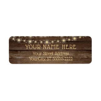 Étiquette Lumières rustiques en bois et de ficelle de pays