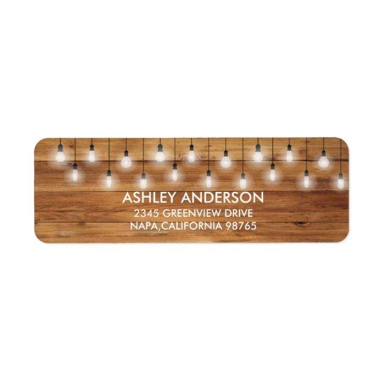 Étiquette Lumières rustiques simples en bois de mariage