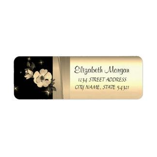 Étiquette Luxe chic élégant, or de Faux, noir, fleur