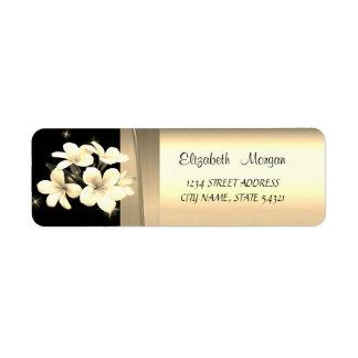 Étiquette Luxe chic élégant, or de Faux, noir, fleurs