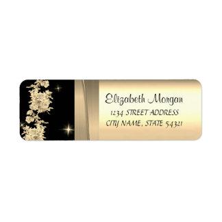 Étiquette Luxe chic élégant, or de Faux, noir, roses