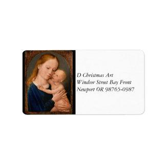 Étiquette Madonna avec l'enfant du Christ