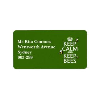 Étiquette Maintenez calme et gardez les abeilles - toutes