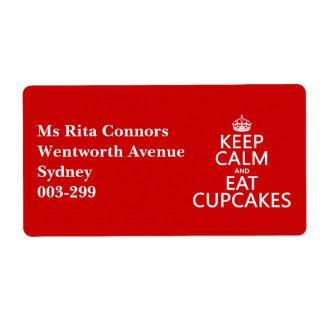 Étiquette Maintenez calme et mangez les petits gâteaux