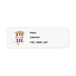 Étiquette Maïs éclaté de salle de cinéma d'amusement dans