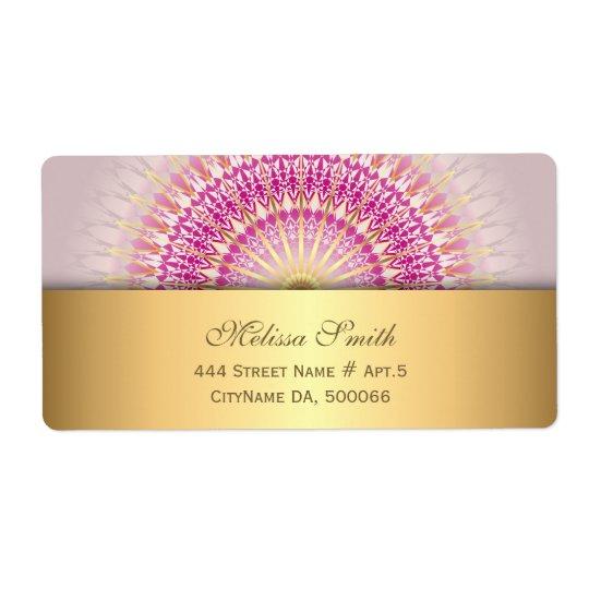 Étiquette Mandala rose d'or